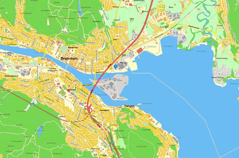 kart over mjøsområdet